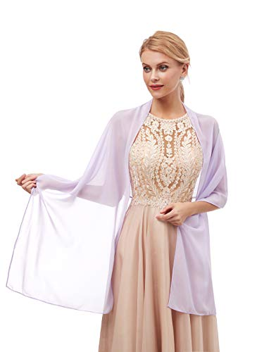 Women's Fashion Chiffon Wraps Scarve Shawls for Bridal Evening Party Lavender