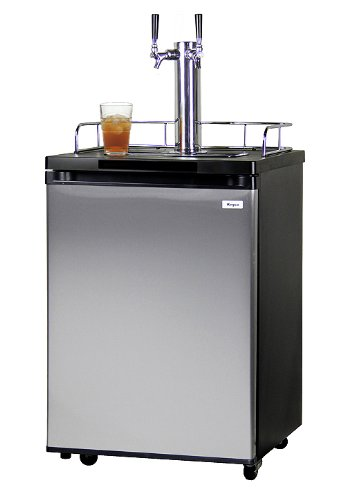 Kegco KOM20S-2 Double Faucet Kombucha Cooler Dispenser with Black Cabinet and Stainless Steel Door