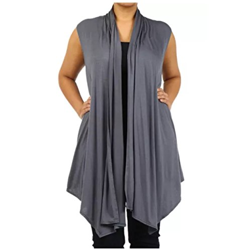 Plus Size Vest Women Open Front Asymmetrical Wrap Sleeveless Casual Cardigan (1X, Gray)