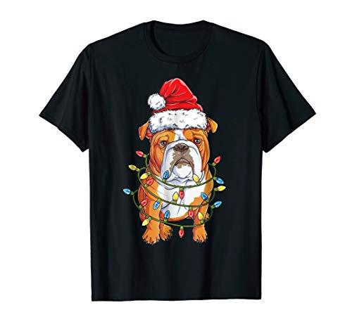 English Bulldog Christmas Shirt Santa Hat Xmas Lights Boys