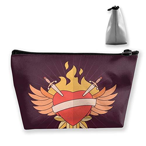 pengyong Cartoon Flaming Winged Heart Makeup Bag Large Trapezoidal Storage Travel Bag Wash Cosmetic Pouch Pencil Holder Zipper Waterproof (Handbag Winged Heart)