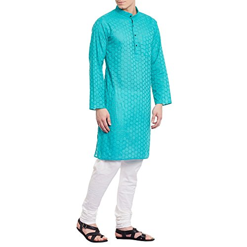 Mens Embroidered Cutwork Cotton Kurta With Churidar Pajama Trousers Machine Embroidery,Turquoise Chest Size: 34 Inch by ShalinIndia (Image #3)