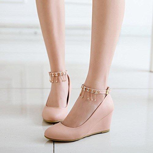 YE Damen Ankle Strap Keilabsatz Pumps High Heels mit Riemchen und Glitzer 6cm Elegant Schuhe Rosa