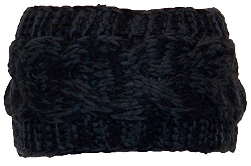 Best Winter Hats Tight Cable Knit Headband/Ear Warmer Womens Small (One Size) - Black