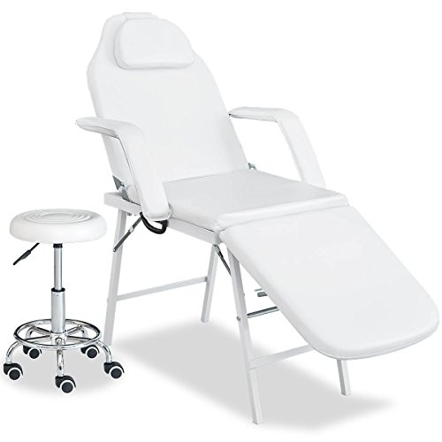Merax Professional Multi-function Adjustable Salon Chair Massage Table Facial Bed with Adjustable Stool (White Color)