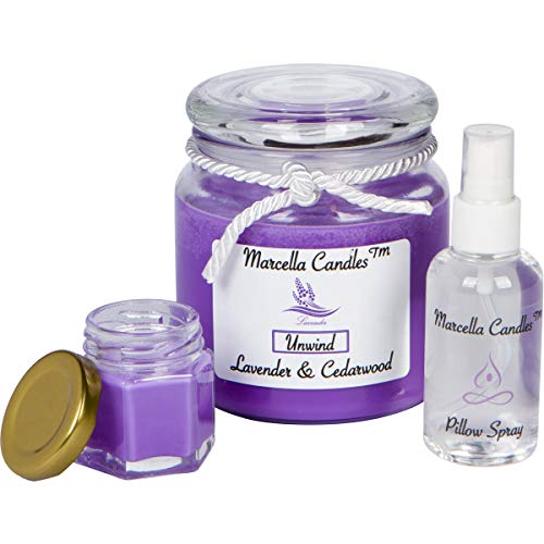 Scented Soy Candle, Aromatherapy 16oz Lavender Stress Relief 3 Wick Soy Candle Set, Includes Lavender Pillow Spray & Lavender Marcella Mini Candle by Marcella Candles