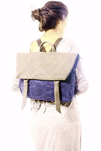 Blue Beeswax Waterproof Canvas and Brown Leather Large Messenger Backpack, Unique Laptop Messenger Bag