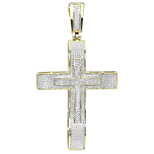 Hip Hop Jewelry 10K Gold Large Diamond Double Cross Mens Pendant 0.4ctw (Yellow Gold)