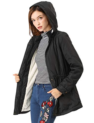 Allegra K Women's Winter Warm Hoodie Parkas Outerwear Drawstring Plush Coat Black S (US 6)
