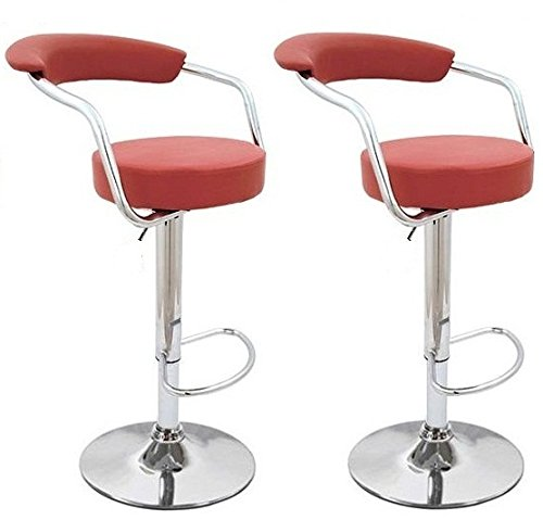 South Mission Frugah New Set of 2 Red Swivel Bar Stools Modern Pub Adjustment Counter Barstool