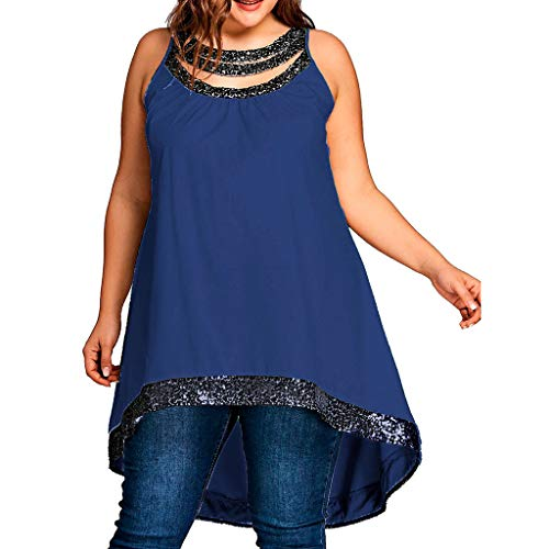 Sunhusing Women Solid Color Off-Shoulder Round Neck Hollow Sequins Splicing Large Size Sleeveless T-Shirt Top Navy