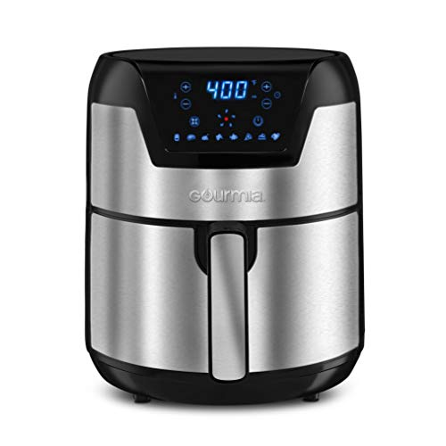 Gourmia GAF518 Stainless Steel 5 Qt Digital Air Fryer- No Oil Healthy Frying – Display with 8 Presets – 1500 Watt – Recipe Book Included