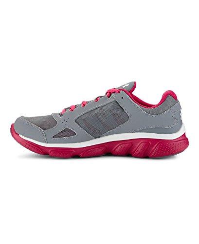 Under Armour Women's UA Micro G Assert V Steel/Tropic Pink/Metallic Silver Sneaker 8 B - Medium