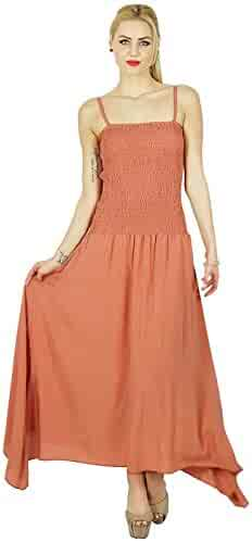 e99d64a1ca1 Bimba Women Long Maxi Dress Smocked Waist Top Spaghetti Strap Casual Custom  Dress Rosy Brown
