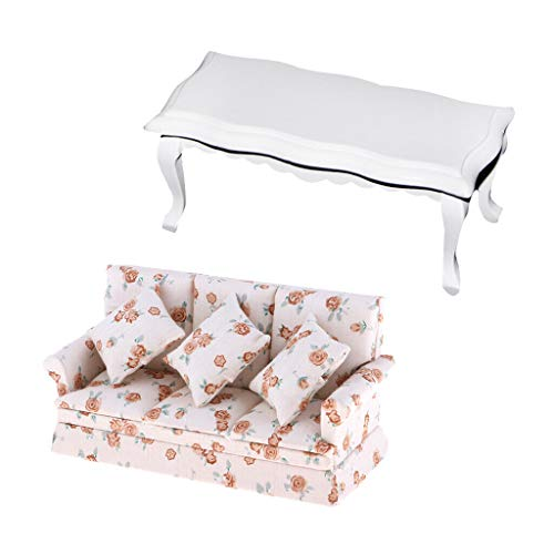 NATFUR 1/12 Dollhouse Living Room Furniture Miniatures Couch+White Wooden End -