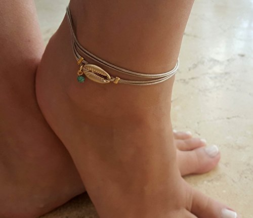 Handmade Beige Anklet For Women Set With 3 Gold Plated Shell Pendant and Turquoise Bead By Galis Jewelry - Beige Ankle Bracelet For Women - Layered (Handmade Shell Jewelry)