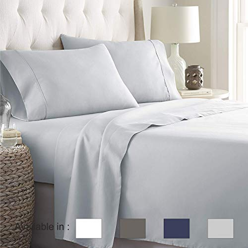 King sheets Extra Deep Pockets 15 Inch 500 Thread Count 4 Piece Sheet Set 100% Cotton Sheet Set Light Grey Solid Sheet,long staple cotton Bedsheet And Pillow Cover,Sateen Finish,Soft,Breadthable ()