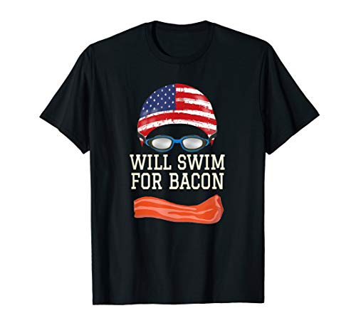 Swim Swimmer T shirt Funny Swimming Goggles Cap Bacon Gift