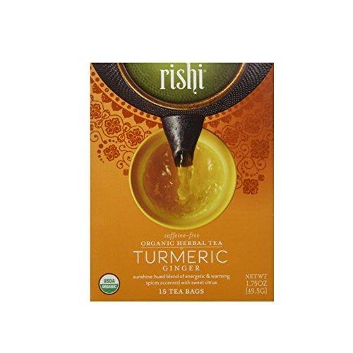 Rishi Turmeric Ginger Tea, Organic Caffeine-Free Herbal Tea Sachet Bags, 15 Count (Pack of 6)