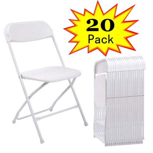 LAZYMOON 20 PCs White Plastic Folding Chairs Commercial Quality Stackable Outdoor Event Wedding Party Chairs