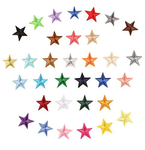 Yalulu 66 Pack Mini Star Patches Iron on Patches Embroidered Badge Self Adhesive Pentagram Sticker Patch DIY Apparel Accessories