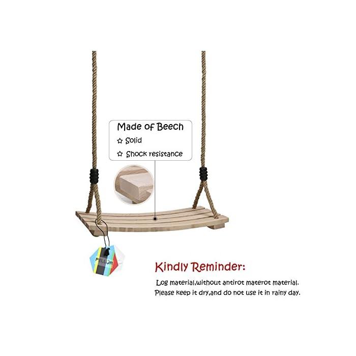 41n0et Pc6L ★ Mayor calidad, más duradero: el material de madera natural le brinda seguridad y comodidad, se procesa y se moldea para secarse, aumenta la resistencia a la corrosión y no es fácil de expandir y deformar. El columpio tiene una cierta función impermeable para reducir la entrada de lluvia. ♥ Por favor, trate de reducir el uso en días de lluvia. Peso máximo de carga: 100kg. Tamaño del asiento: 45x20x1.6cm / 17.7x7.9x0.6 pulgadas. Silla de columpio grande para niños y adultos. ★ Cuerdas ajustables para mayor comodidad: grosor de la cuerda: 11.5-12mm, 120cm - 180cm La cuerda ajustable de cáñamo es básicamente adecuada para todas las pendientes externas. La cerradura está hecha de hierro sólido y tiene una capacidad de carga de 100 kg. Como a menudo se usa, es necesario verificar que el candado no tenga grietas antes de usarlo para evitar que se rompa. ★ Diseñado para la seguridad: el ala de madera PELLOR diseñada con un asiento acanalado antideslizante y lados elevados para garantizar la seguridad de los niños. El diseño cualitativo de la plantilla curva reduce el giro hacia la izquierda y hacia la derecha, de modo que el centro de gravedad se concentra en el centro del tablero. Los anillos y accesorios de metal galvanizado también se pueden colgar de la rama de un árbol o de una viga. Trate de mantener el columpio de madera seco.