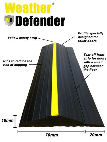 Weather Defender Heavy Duty 2.9m Garage Door Floor Seal Strip with Adhesive by Weather Defender by Weather Defender