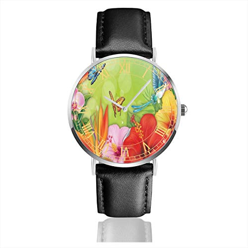 Mens Watch Spring Floral Butterfly Cool Minimalist Stainless Steel Quartz Wrist Watches with Replaceable Leather Band