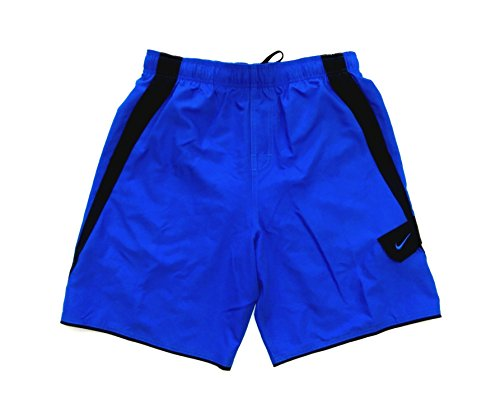 Nike Mens Core Colorblock Athletic Swim Shorts NESS6412/13 (X-Large, Blue/Black)