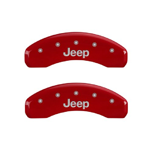 MGP Caliper Covers 42006SJEPRD 'JEEP' Engraved Caliper Cover with Red Powder Coat Finish and Silver Characters, (Set of 4) by MGP Caliper Covers (Image #1)