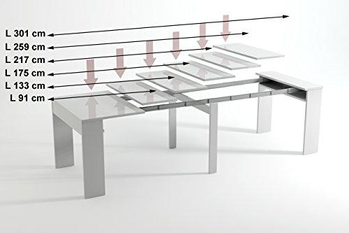 Comfort home innovation table de salle à manger extensible jusquà 301 cm chêne clair dimensions fermée 90x49x75 cm de hauteur