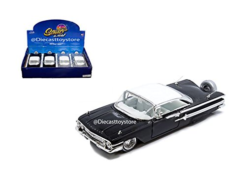 Hardtop Impala Chevrolet - NEW DIECAST MODEL TOY CAR 1:24 DISPLAY - STREET LOW - 1960 CHEVROLET IMPALA HARDTOP (BLACK, SILVER) - MIJO EXCLUSIVES SET OF 2 98927-MJ BY JADA