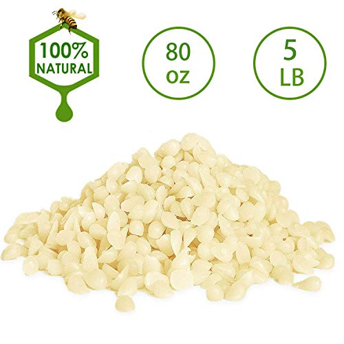 White Beeswax Pellets 5LB/ 80 oz 100% Pure and Natural Triple Filtered for Skin, Face, Body and Hair Care DIY Creams, Lotions, Lip Balm and Soap Making Supplies.