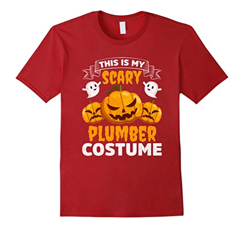 Funny Plumber Costume - Mens This Is My Scary Plumber Costume Funny Halloween Shirt 3XL Cranberry