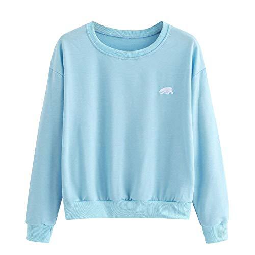 Dot Tail Tie Bow Blue (Womens Blouse, Limsea Round Embroidery Neck Long Sleeve Casual Shirt Sweatshirt(Light Blue,Medium))