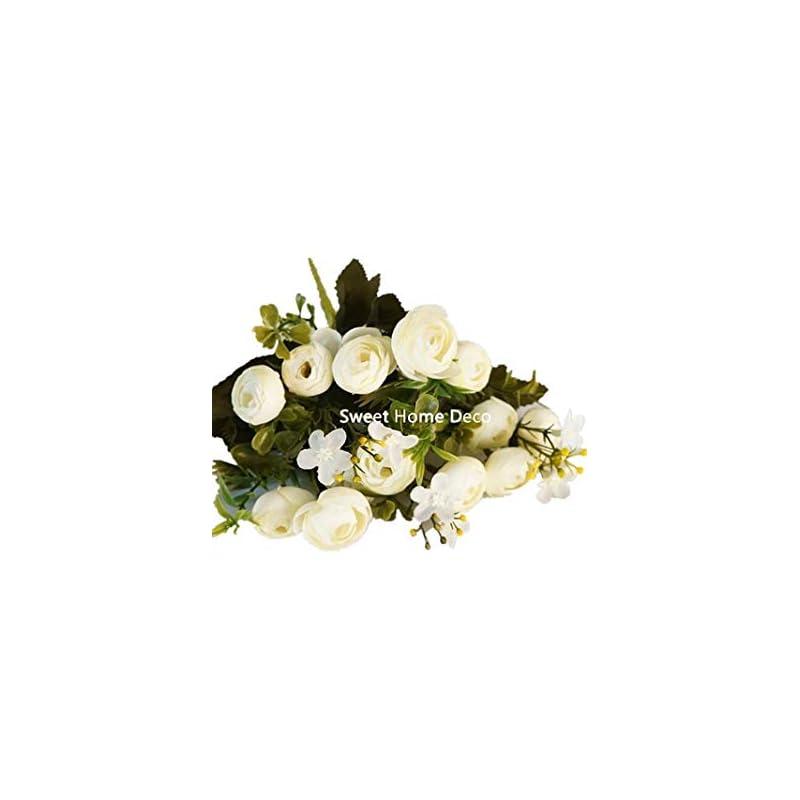 silk flower arrangements sweet home deco 11'' silk baby ranunculus artificial flower bush small flower bush set of 2 wedding/home decorations (white)