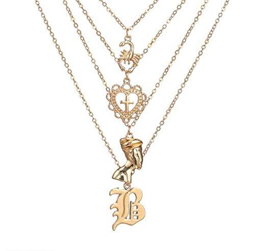 - HoGadget Women Layered Pendant Necklace Scorpion Heart Cross Portrait Chain Choker Necklace