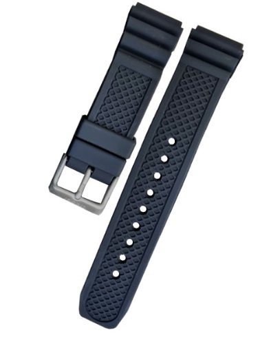 Signed Buckle (Traser OEM Signature Rubber Watch Strap with Signed Buckle,)