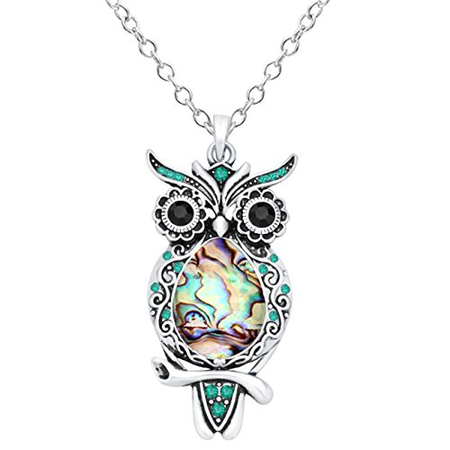 (CHUANGYUN Silver-Plated Abalone Shell Colorful Rhinestone Owl Necklace 18'' (Green) )