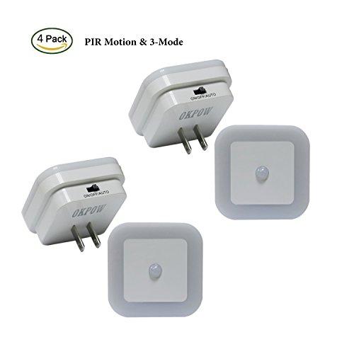 4PCS PIR Motion Sensor Night Light Lamp for Hallway Bathroom Kids Room