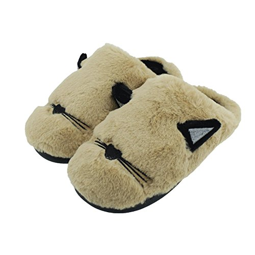 SENFI Kids Slipper Cat Anti-Slip House Shoes For Indoor,GCT02-brown-31.32