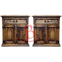 Two Rustic Wax Mansion Nightstands Western Style Solid Wood