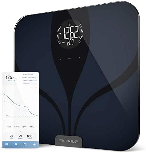 Greater Goods Bluetooth® Connected Body Fat Digital Bathroom Smart Scale (Black-Black LCD)