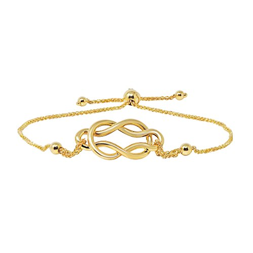 (Celtic Knot Bolo Bracelet in 14k Yellow Gold)