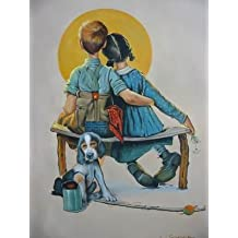 16X20 inch Norman Rockwell Canvas Print RePro First Lovers / Sunset