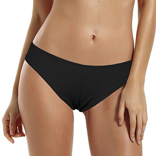 Zeraca Women's Plus Size Brazilian Cheeky Bikini Bottom X-large Black