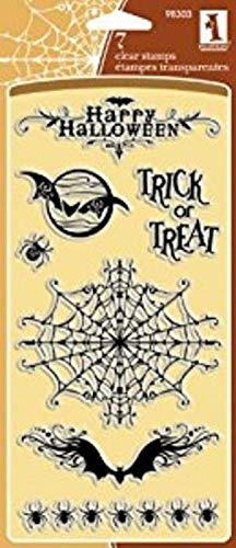 ShopForAllYou Stamping & Embossing Cling Rubber Stamp Set Happy Halloween Spooky Spider Bats]()