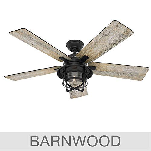 Hunter 54 Coral Gables Reversible Burnished Gray Pine Blades Remote Controlled Ceiling Fan in Weathered Zinc Finish
