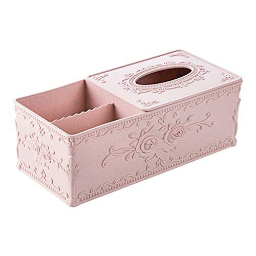 Tissue Box Cover Home Car Desk Organizer Remote Control Holder Makeup Cosmetic Storage Box Napkin Paper Container,Pink