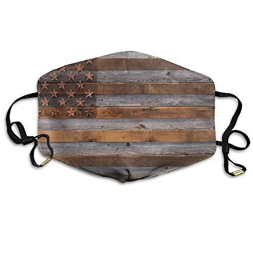 shengshilande Retro USA Wood Flag On Vintage Paper Reusable Anti-Pollution Lip Mask Mouth Face -